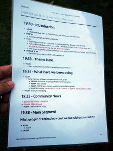 The Running Order of Laminated Majesty Show Notes from FOSS Talk Live 2016 (page 1)